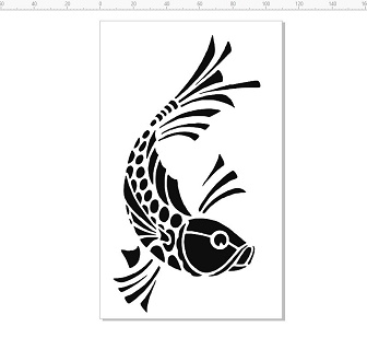OT004 Carp,fish,Japanese, stencil,mask,template, 110 x 18