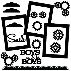 Boys will be boys 3 photo frame page ,cogs,smile tabs ,border 12