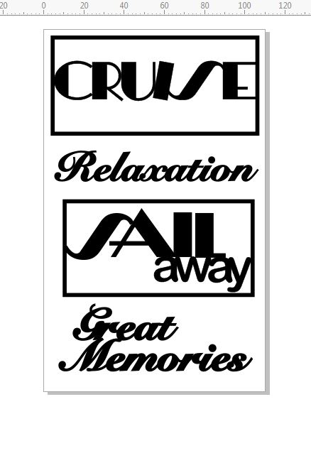 cruise 'sail away'relaxation,  110 x 180mm. min buy 3