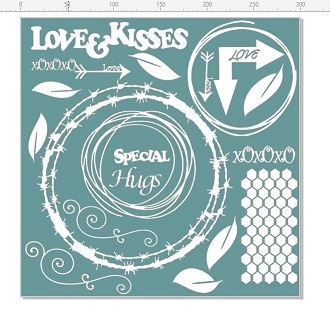 Love and kisses, heaps of embellishments on this design  12 x 12