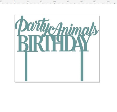 Party animals birthday  127 x 100 Acrylic clear white black clea